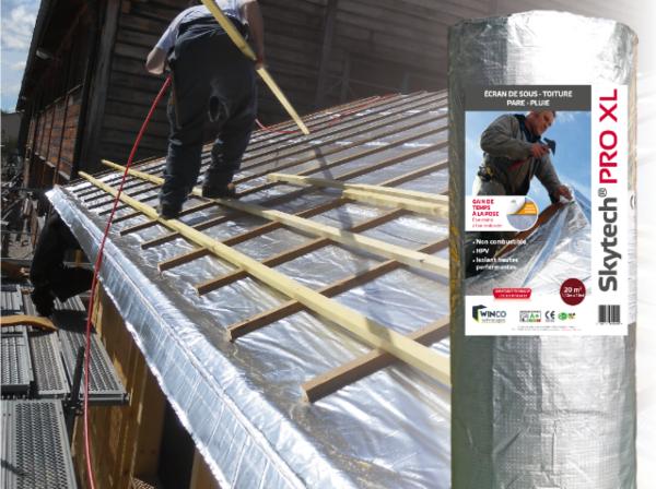 Écran de sous-toiture / pare-pluie isolant avec bande adhésive intégrée SKYTECH PRO XL   Tanguy